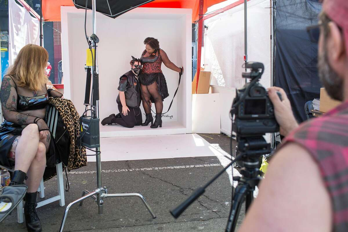 Empress Mia and MC Clap Yo Handz are photographed by Magnus Hastings for his project, Gayface, during the 35th annual Folsom Street Fair on Sunday, September 30, 2018 in San Francisco Calif.