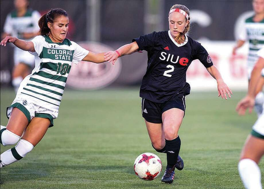 SIUE's Andrea Frerker (2) scored a goal in her team's 2-0 victory Belmont Sunday in Nashville, Tenn. Frerker is shown in action against Colorado State. Photo: SIUE File Photo