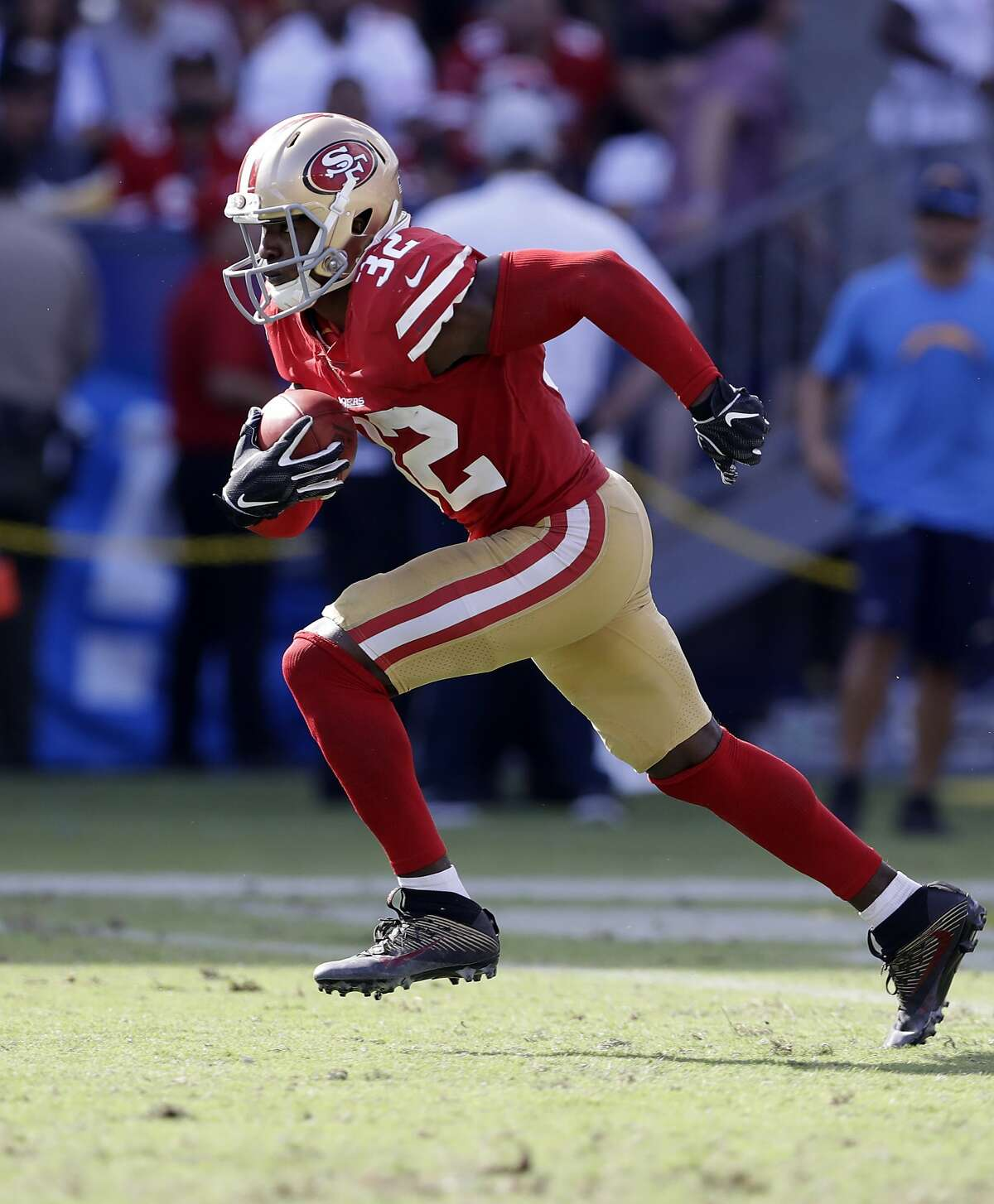San Francisco 49ers cornerback D.J. Reed runs the ball during the second half of an NFL football game against the Los Angeles Chargers, Sunday, Sept. 30, 2018, in Carson, Calif.