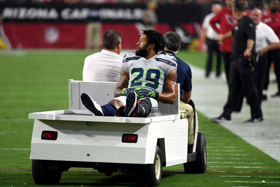 GLENDALE, AZ - SEPTEMBER 30: Defensive back Earl Thomas #29 of the Seattle Seahawks leaves the field on a cart after being injured during the fourth quarter against the Arizona Cardinals at State Farm Stadium on September 30, 2018 in Glendale, Arizona. (Photo by Norm Hall/Getty Images) Photo: Getty Images