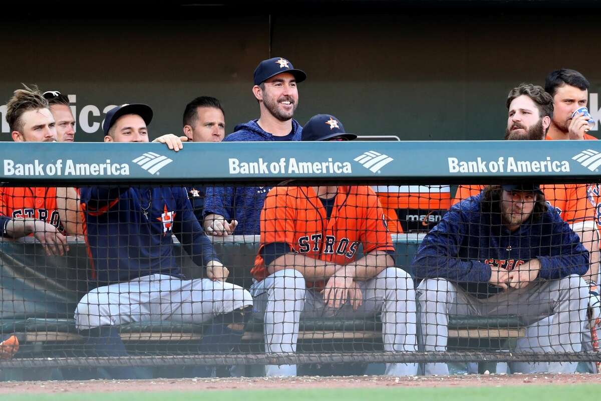 BALTIMORE, MD - SEPTEMBER 30: Justin Verlander #35 of the Houston Astros looks on from the dugout during the ninth inning of the Astros 4-0 loss to the Baltimore Orioles at Oriole Park at Camden Yards on September 30, 2018 in Baltimore, Maryland. (Photo by Rob Carr/Getty Images)