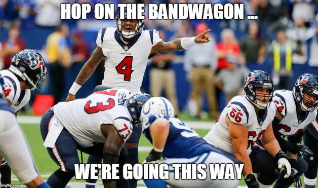 Houston Texans Week 4: Texans 37, Colts 34 (OT) Early in the season, Deshaun Watson said fans better get on the bandwagon early. For the first time, there was a reason to have a bandwagon as the Texans got their first win. Photo: Matt Young