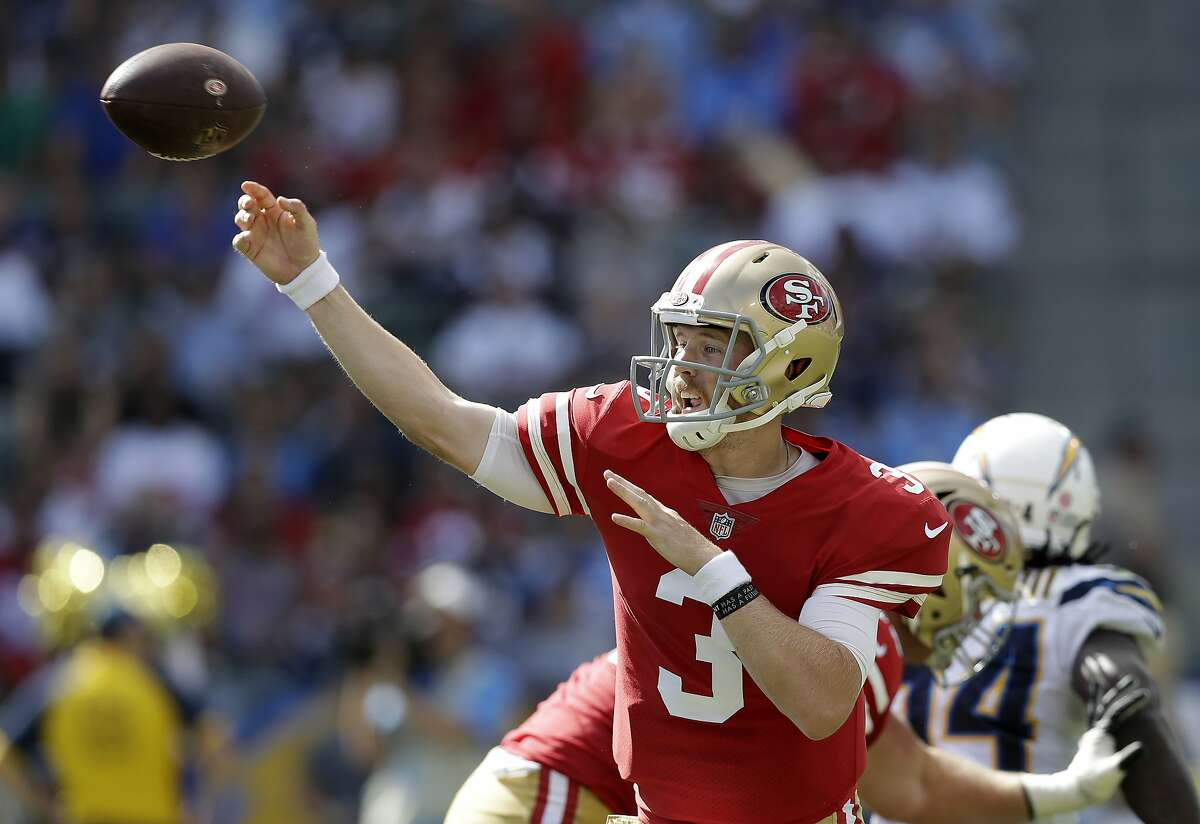 San Francisco 49ers quarterback C.J. Beathard passes during the first half of an NFL football game against the Los Angeles Chargers, Sunday, Sept. 30, 2018, in Carson, Calif. (AP Photo/Marcio Sanchez)