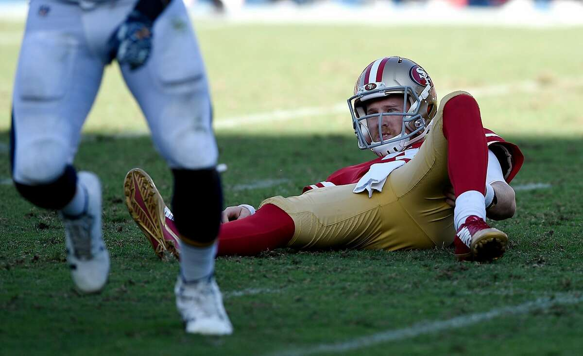 CARSON, CA - SEPTEMBER 30: Quarterback C.J. Beathard #3 of the San Francisco 49ers lies on the ground after getting sacked and fumbling the ball end of the game against Los Angeles Chargers at StubHub Center on September 30, 2018 in Carson, California. (Photo by Kevork Djansezian/Getty Images)