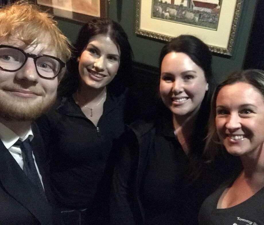 From left to right: Singer/songwriter Ed Sheeran, bartender Jillian Daneault, pub owner Maeve Sullivan and bartender Oksana Limberger Photo: Maeve Sullivan / Contributed Photo