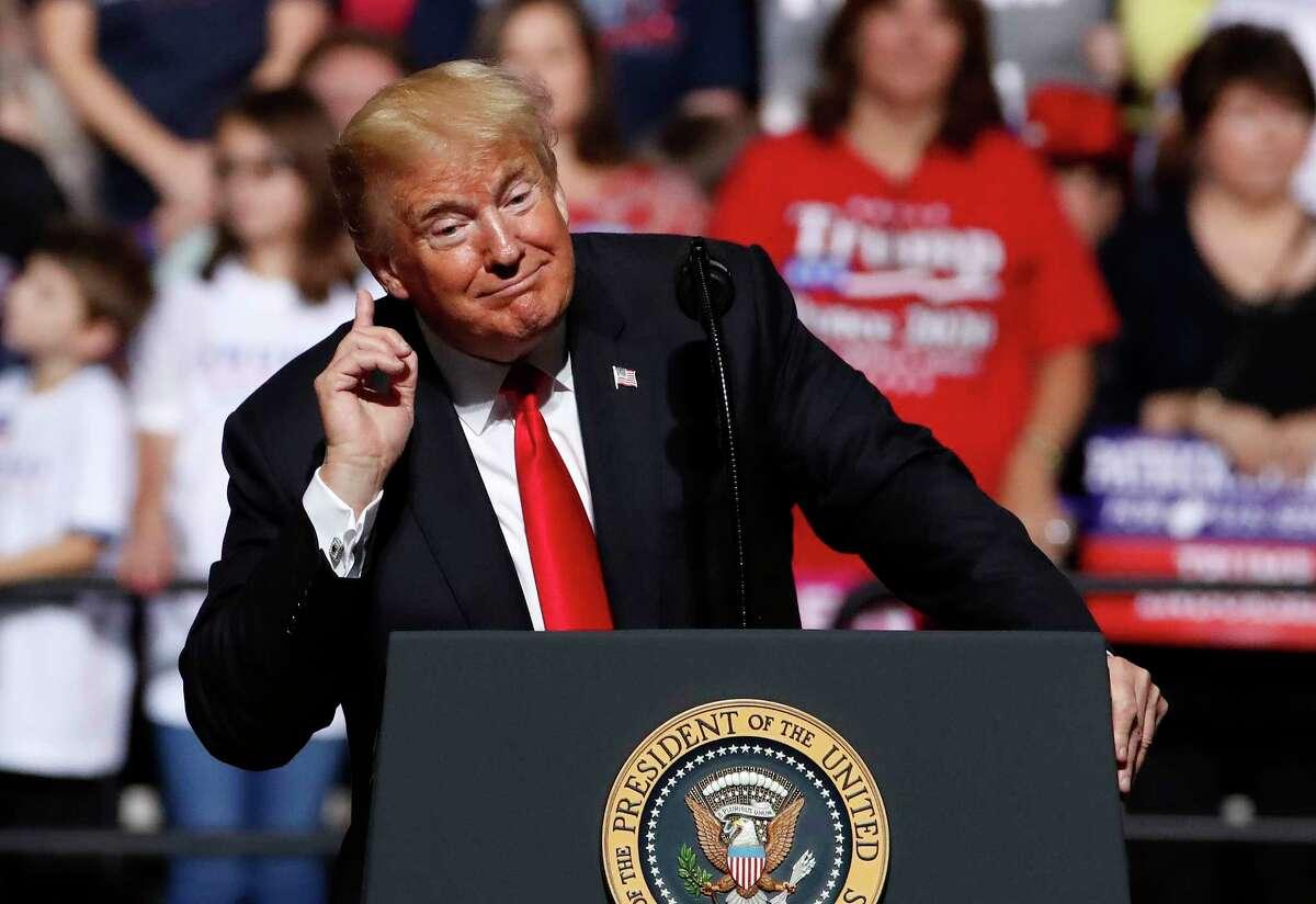 President Donald Trump speaks at a rally in Wheeling, W.Va., Saturday, Sept. 29, 2018. (AP Photo/Gene J. Puskar)