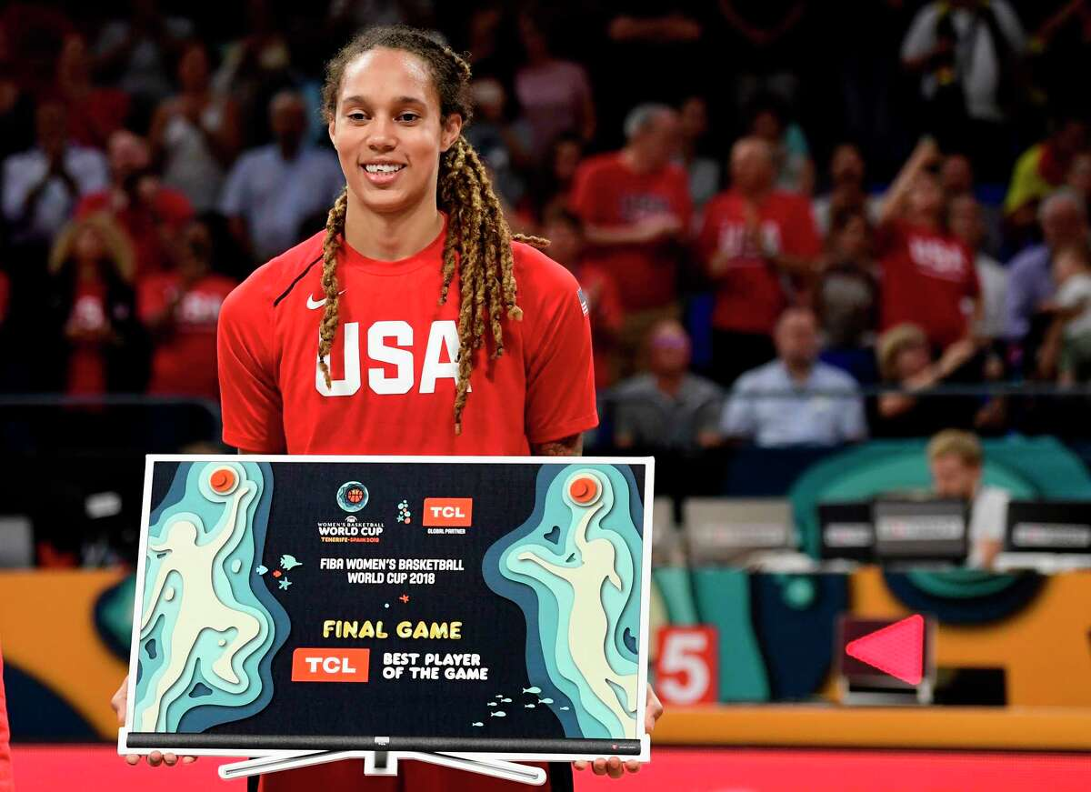 US' center Brittney Griner holds her 'Best Player' award after the FIBA 2018 Women's Basketball World Cup final match between Australia and Unites States at the Santiago Martin arena in San Cristobal de la Laguna on the Canary island of Tenerife on September 30, 2018. (Photo by JAVIER SORIANO / AFP)JAVIER SORIANO/AFP/Getty Images