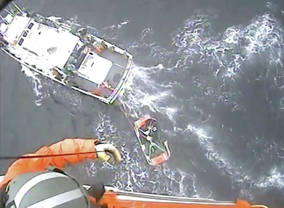 The U.S. Coast Guard released video of airlifting a man experiencing medical issues aboard a fishing vessel just west of the Golden Gate Bridge. Photo: U.S. Coast Guard
