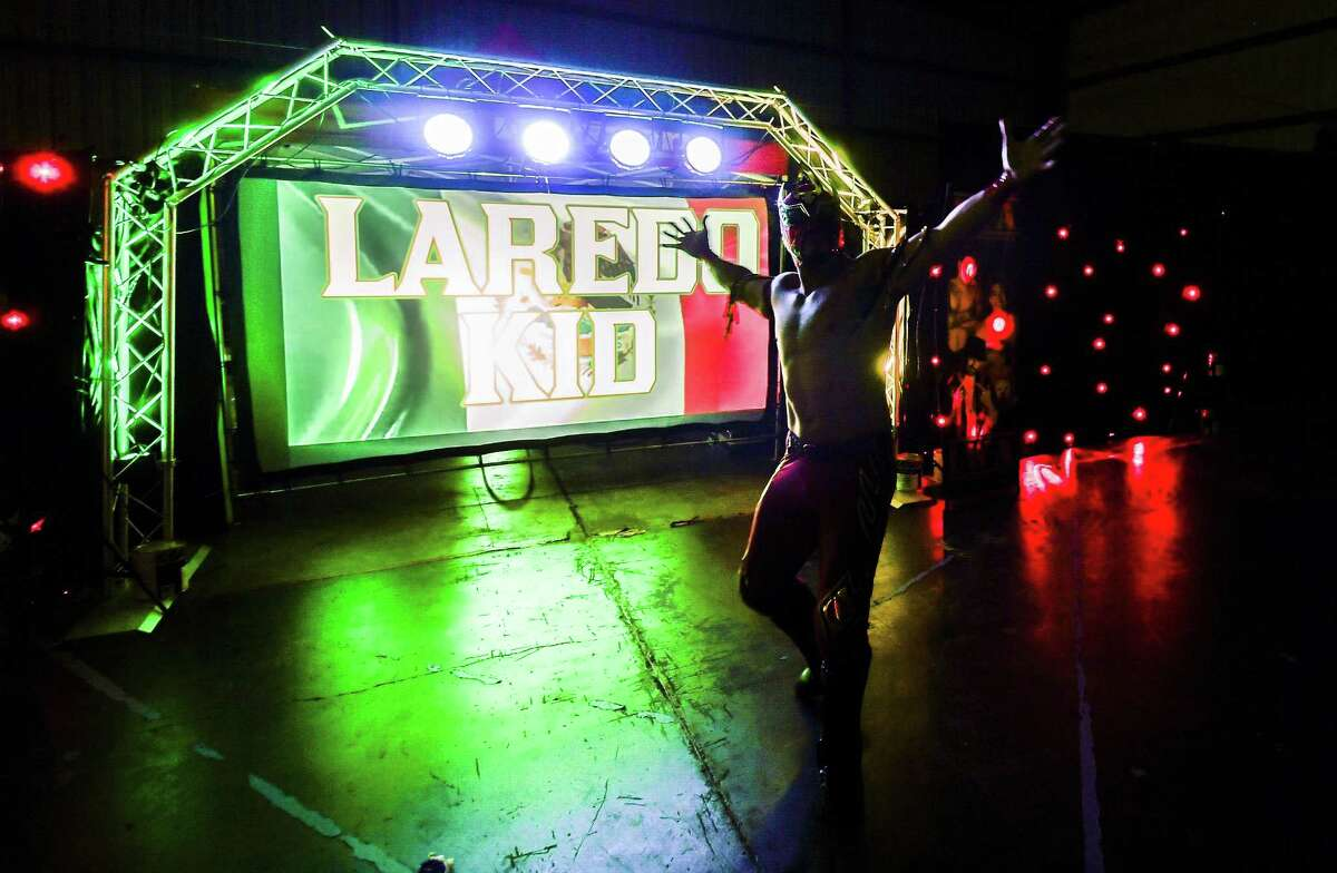 The Laredo Kid takes on Daga during the main event of the Laredo Wrestling Alliance's Hasta La Victoria Siempre event on Saturday, Sept. 29, 2018, at the Warehouse of Champions Sports Complex.