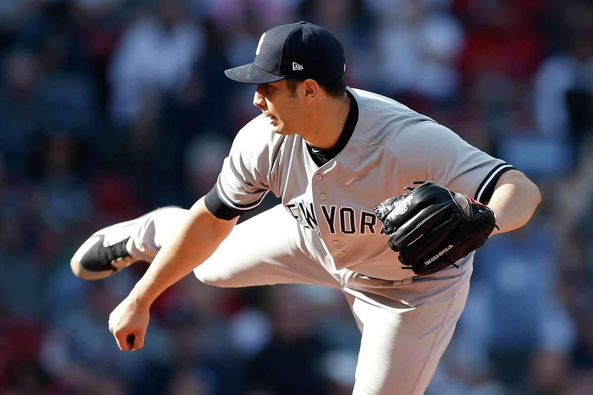 New York Yankees' Luis Cessa pitches during the first inning of a baseball game against the Boston Red Sox in Boston, Sunday, Sept. 30, 2018. (AP Photo/Michael Dwyer)