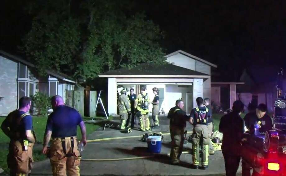Firefighters extinguished a blaze at Northhagen and Barker Cypress on Sunday, Sept. 30, 2018. Photo: Metro Video