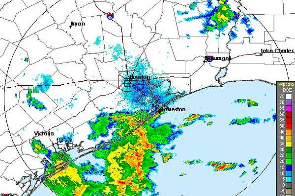 Weather radar maps show a system moving north through the Houston area on Oct. 1, 2018.