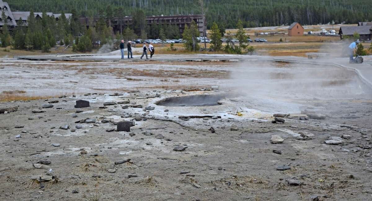 Debris around Ear Spring in Yellowstone National Park after the long inactive geyser erupted on Sept. 15.