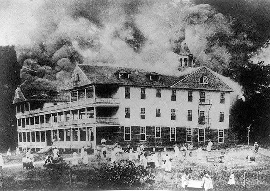 A fire destroyed the hotel at Chautaqua in August 1919. It is thought to have been started by a cigarette butt. The fire began at the top of the hotel near the gables. Photo: File Photo