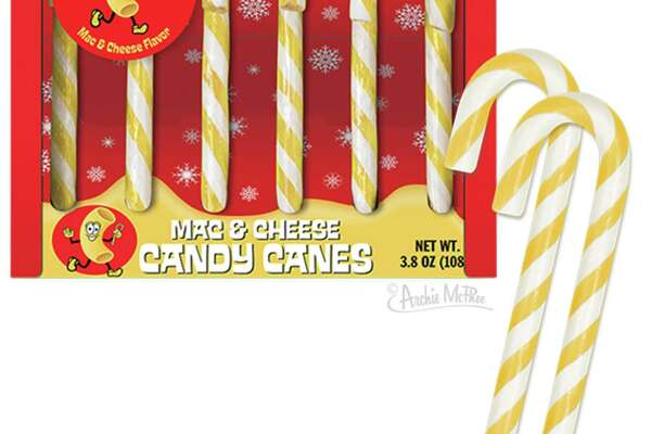 Seattle novelty company Archie McPhee is selling mac and cheese candy canes this year.