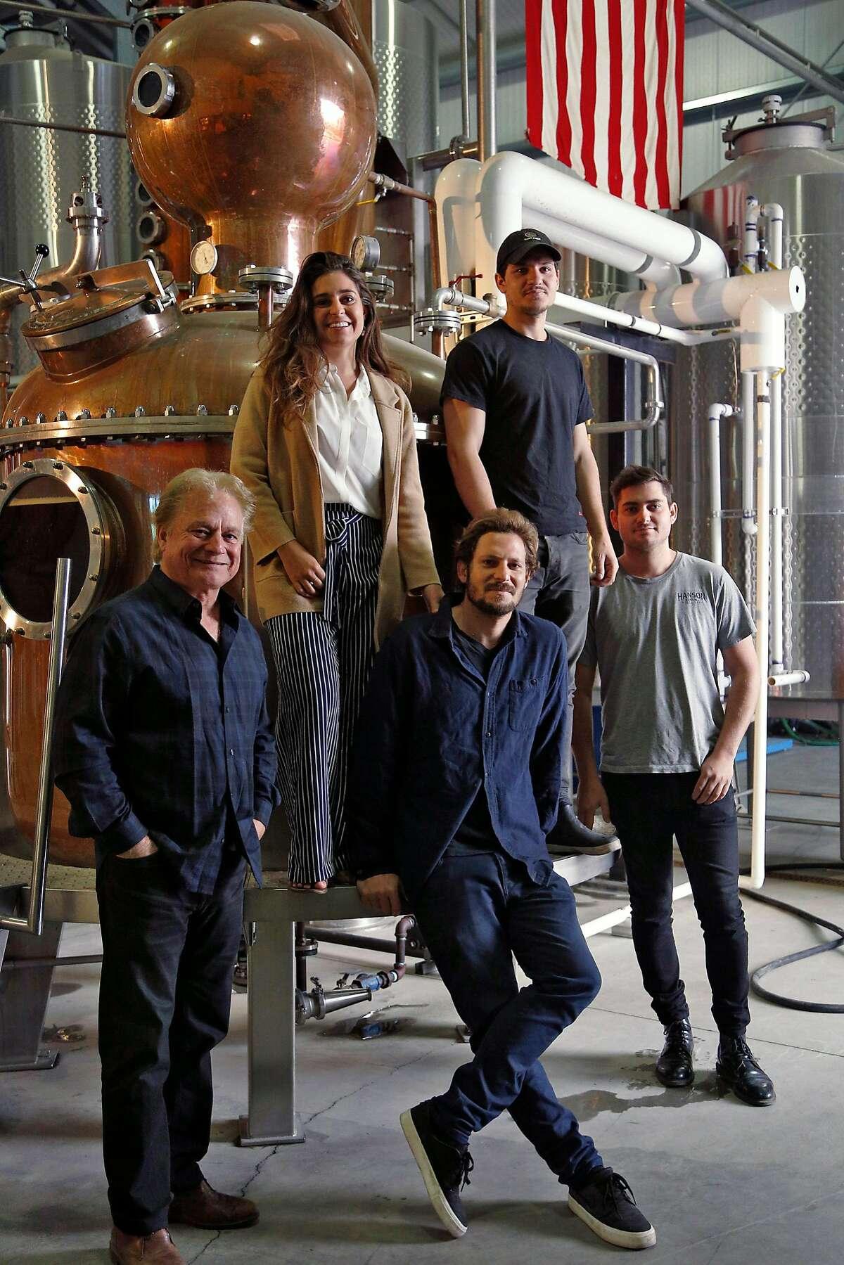 Scott Hanson and his children at Hanson Distillery in Sonoma, Calif., on Friday, September 28, 2018.
