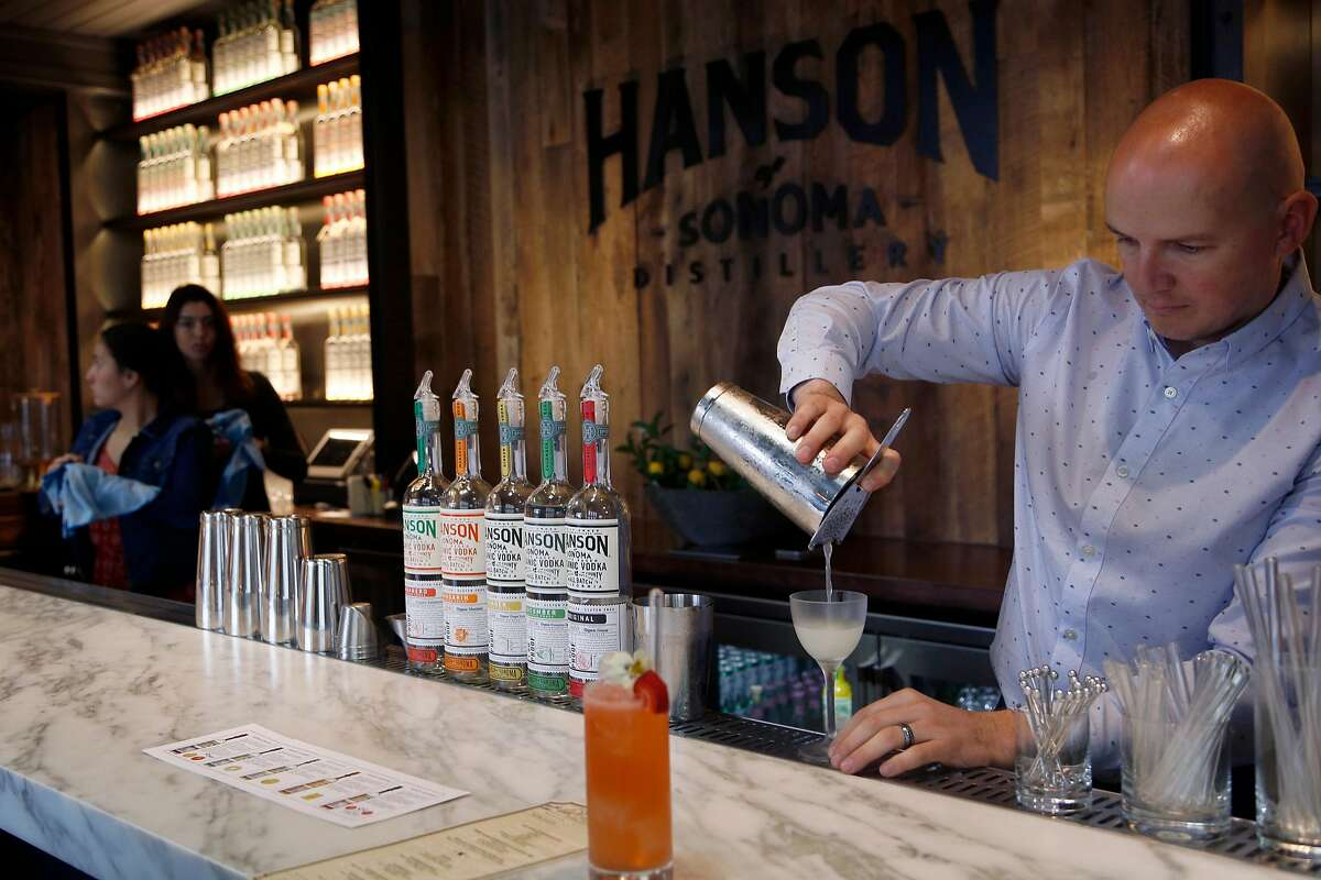 Krzysztof Pawlik makes a cocktail at Hanson Distillery's tasting room in Sonoma, Calif., on Friday, September 28, 2018. They do both vodka tastings and cocktails.