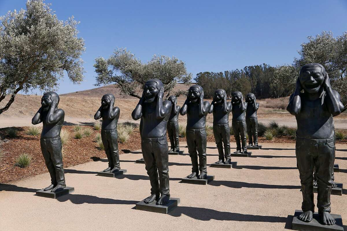 Contemporary Terracotta Warriors by Yeu Minjun at The Donum Estate Sculpture Park in Sonoma, Calif., on Friday, September 28, 2018.