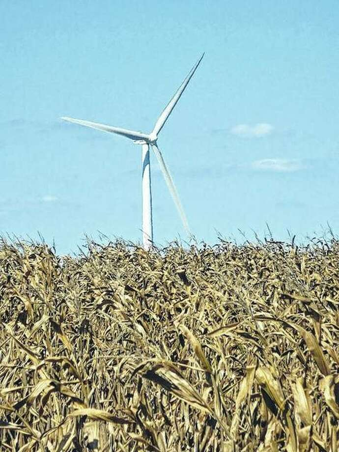 A wind turbine west of Pittsfield in Pike County. Photo: David Blanchette | Journal-Courier