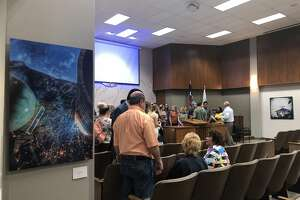 The Community Art Gallery at City Hall opened 9/25/18 as part of the ongoing ArtPocalypse, sponsored by Odessa Arts. Work of 15 artists from Odessa is on display in City Council Chambers for the next year.