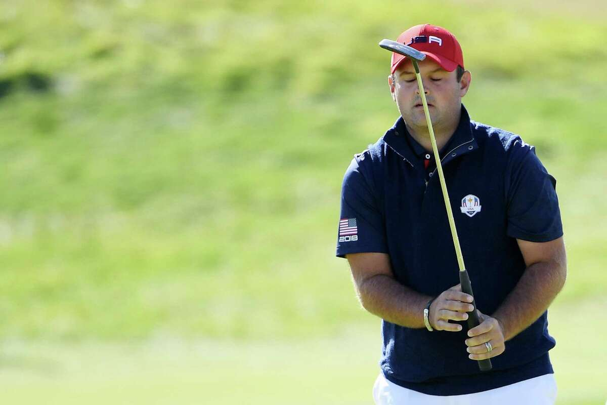 PARIS, FRANCE - SEPTEMBER 30: Patrick Reed of the United States reacts to a putt on the second during singles matches of the 2018 Ryder Cup at Le Golf National on September 30, 2018 in Paris, France.