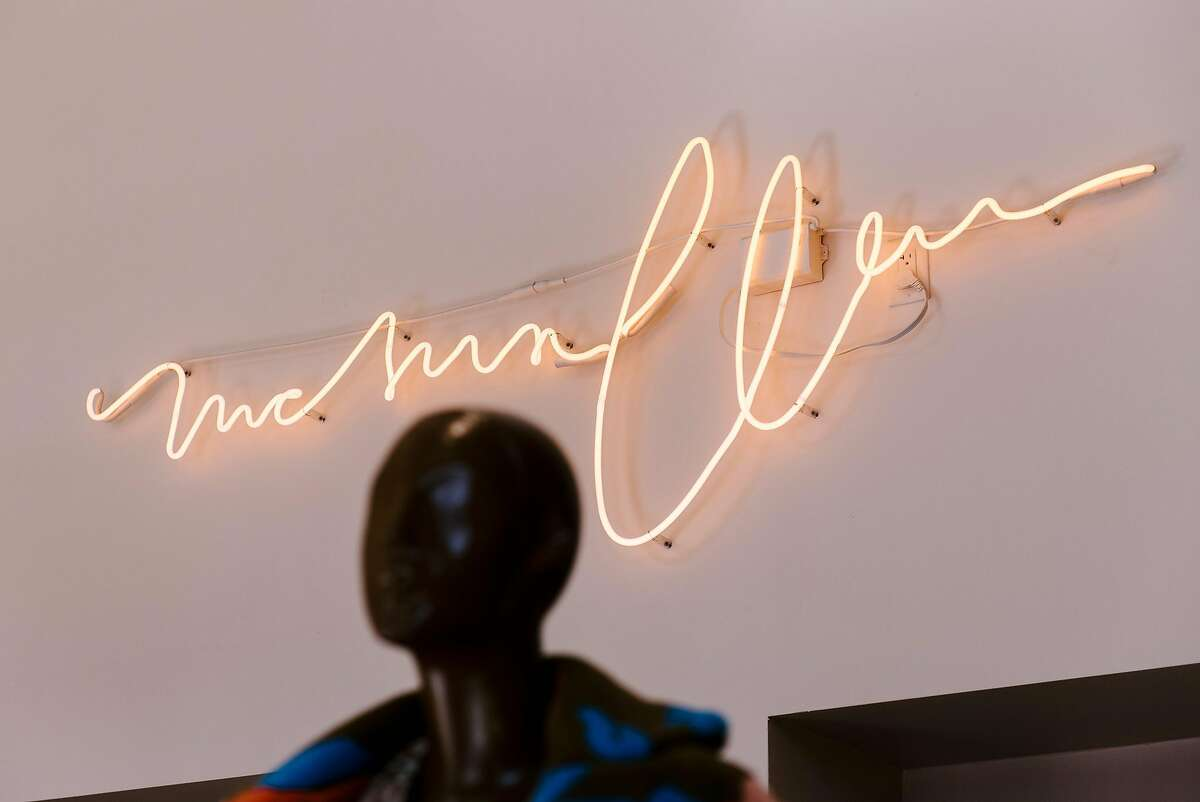 A neon sign is seen in women's fashion shop McMullen at it's new location in Oakland, CA, on Monday September 17, 2018.