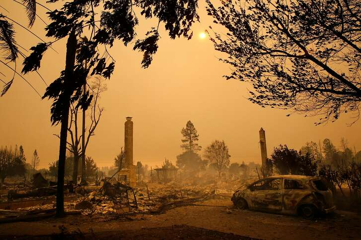 At the scene of the Tubbs Fire in Santa Rosa, Ca., on Monday October 9, 2017. Massive wildfires ripped through Napa and Sonoma counties early Monday, destroying hundreds of homes and businesses on Monday October 9, 2017