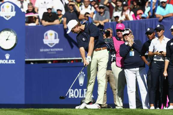 PARIS, FRANCE - SEPTEMBER 26: William Moll of Team USA tees off during the Junior Ryder Cup GolfSixes ahead of the 2018 Ryder Cup at Le Golf National on September 26, 2018 in Paris, France. (Photo by Jamie Squire/Getty Images)
