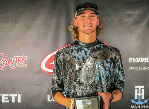 The Woodlands native Joe Beebee poses for a picture after winning the T-H Marine FLW Bass Fishing League (BFL) Cowboy Division tournament on Toledo Bend Lake Sunday. (Photo provided by BFL)