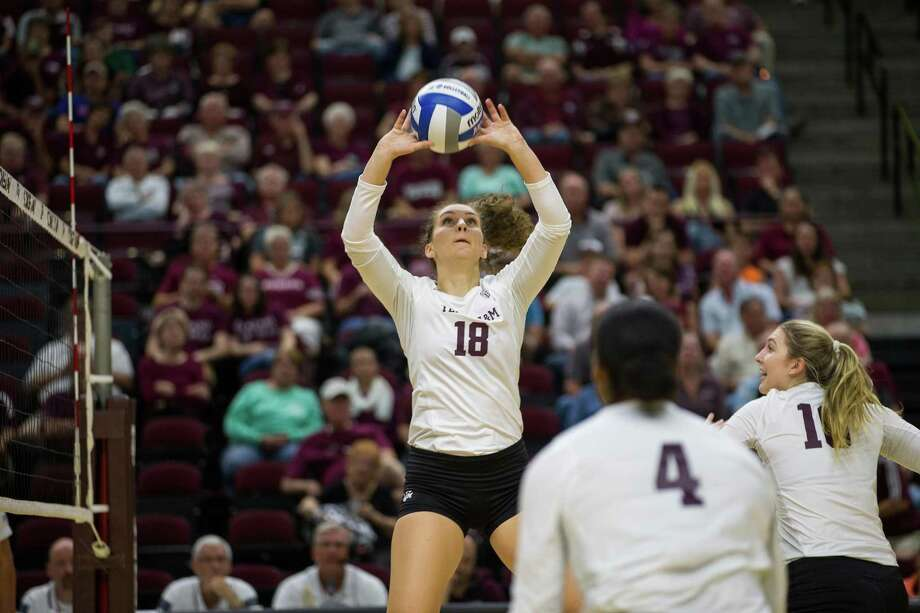 Seven Lakes graduate Camille Conner recorded 32 assists, nine kills and seven digs in her first NCAA match, a sweep of Sam Houston State. Conner has continued to excel as a sophomore with the Aggies, earning SEC Setter of the Week honors. Photo: Texas A&M Athletics / Sam Craft / Sam Craft / www.samcraft.com