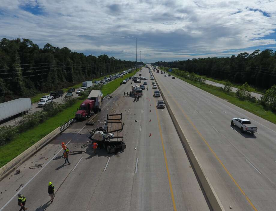An accident between two 18-wheelers Monday afternoon on Interstate 69 in Montgomery County shut down most of the northbound lanes and created a hazmat spill. Photo: Scott Engle/Montgomery County Police Reporter