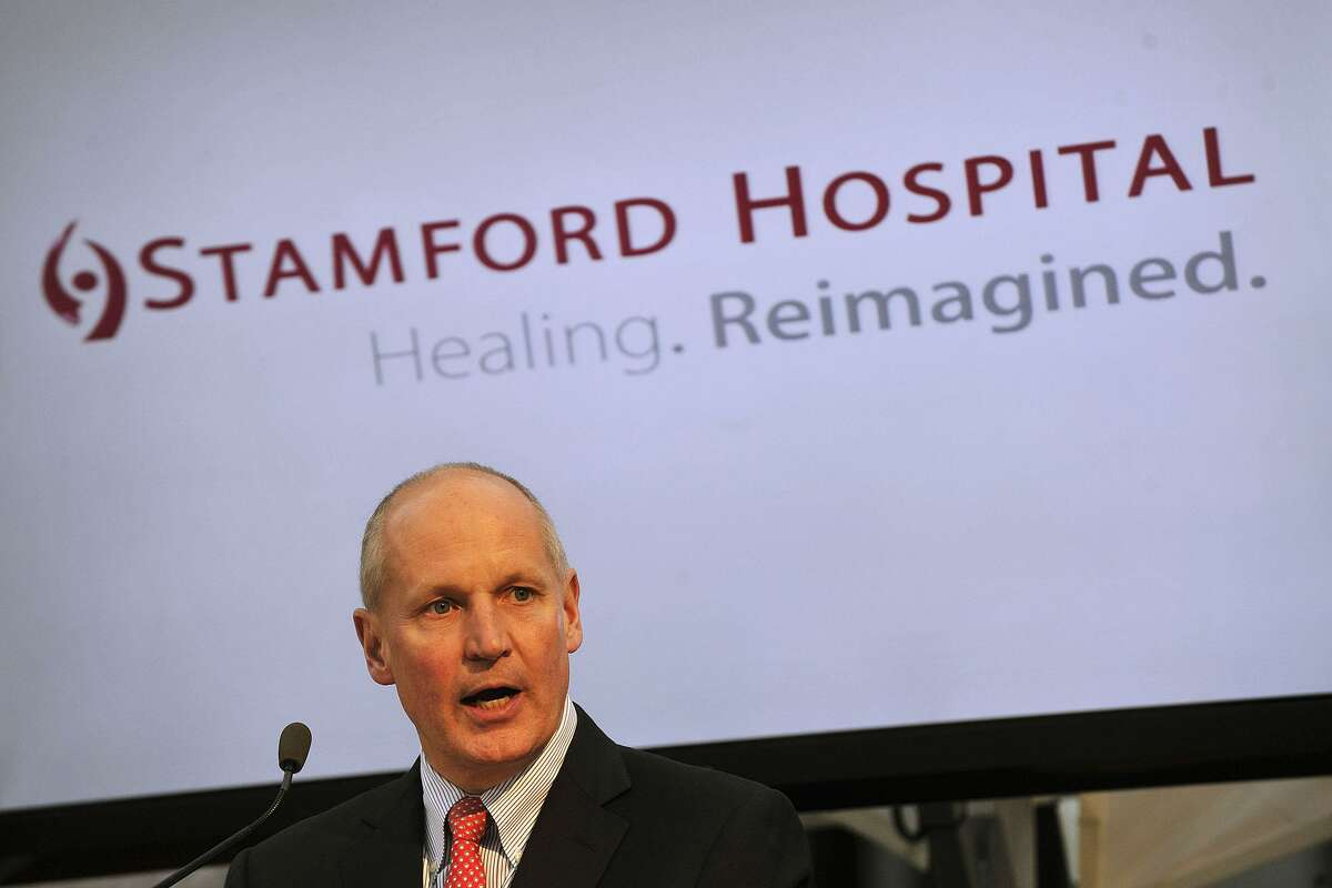 FILE PHOTO - Brian Grissler, CEO of Stamford Hospital, speaks during the topping off ceremony of the new wing of Stamford Hospital in Stamford, Conn., on Wednesday, May 14, 2014.