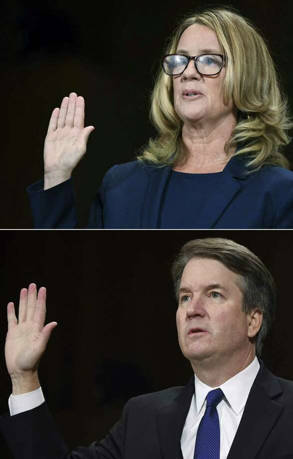 The two — Christine Blasey Ford and Brett Kavanaugh — swore to tell the truth, but it's quite possible one of them is lying. The nation needs to be as certain as possible who or at least that the man who would be their newest justice is truthful. Photo: SAUL LOEB /AFP /Getty Images / AFP