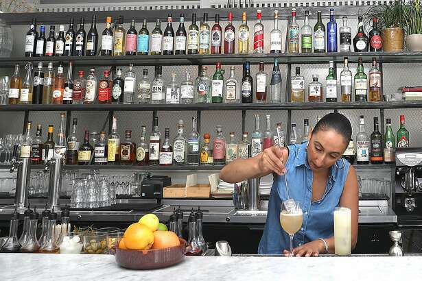 Bar manager Nahiel Nazzal makes cocktails at Pearl, a restaurant in the outer Richmond with a serious cocktail program on Friday, Sept. 21, 2018, in San Francisco, Calif.