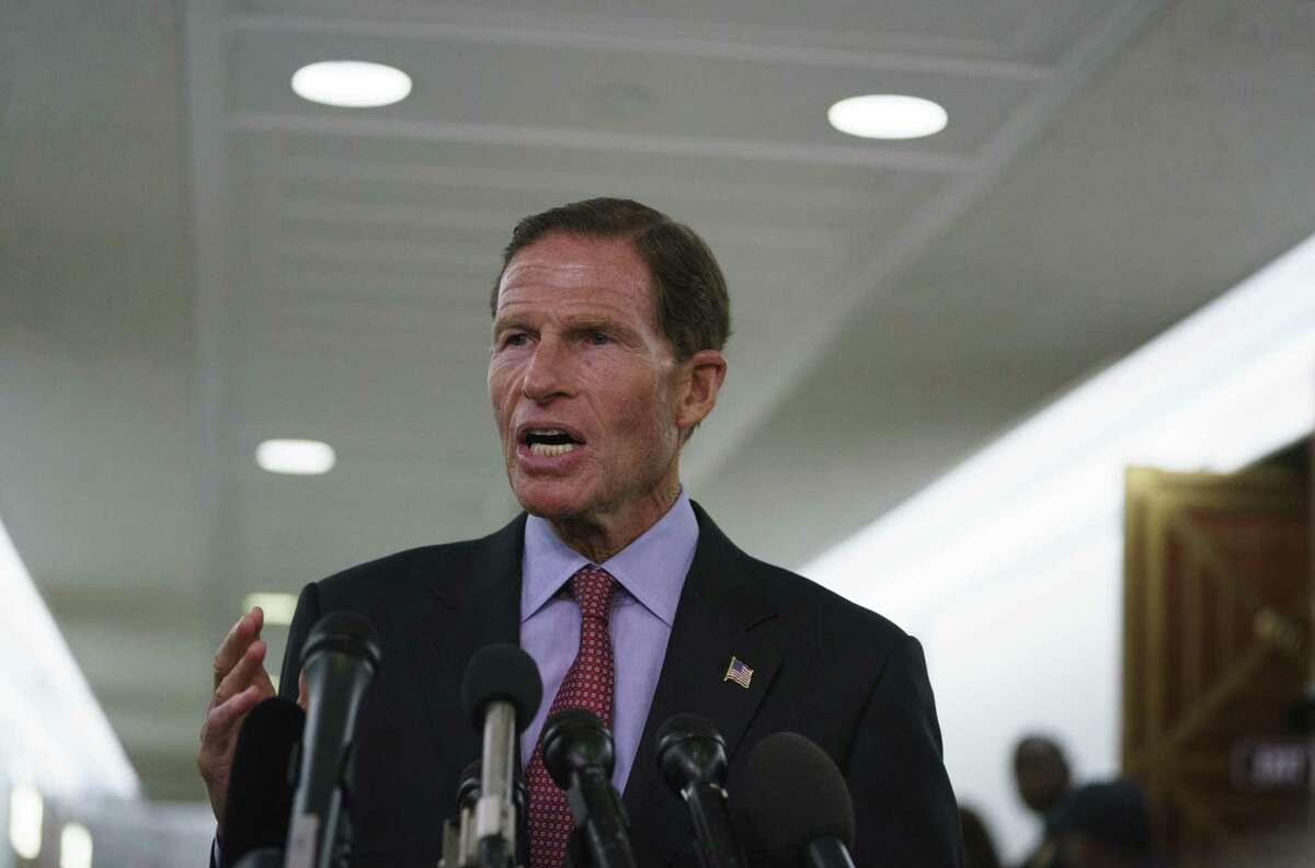 Sen. Richard Blumenthal, D-Conn., talks to media after a Senate Judiciary Committee hearing on Capitol Hill in Washington, Friday, Sept. 28, 2018.