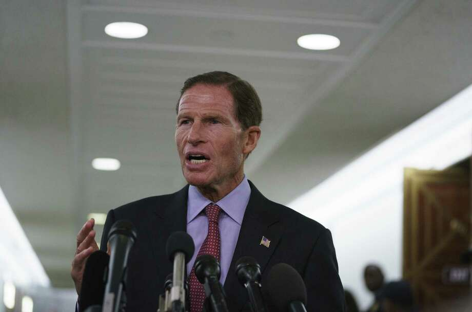 Sen. Richard Blumenthal, D-Conn., talks to media after a Senate Judiciary Committee hearing on Capitol Hill in Washington, Friday, Sept. 28, 2018. Photo: Carolyn Kaster / Associated Press / Copyright 2018 The Associated Press. All rights reserved