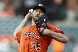 Houston Astros starting pitcher Justin Verlander throws to the Baltimore Orioles in the first baseball game of a doubleheader, Saturday, Sept. 29, 2018, in Baltimore. (AP Photo/Patrick Semansky)