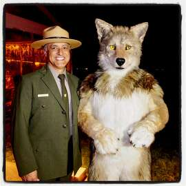 Golden Gate National Parks Ranger Brian Aviles and a furry friend at Trails Forever dinner. Sept. 29, 2018.