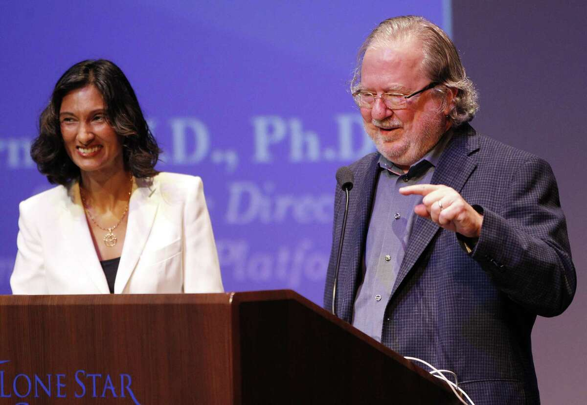 MD Anderson immunologist Jim Allison with his wife, Padmanee Sharma, in 2015. Allison was awarded the 2018 Nobel Prize in Medicine Monday.