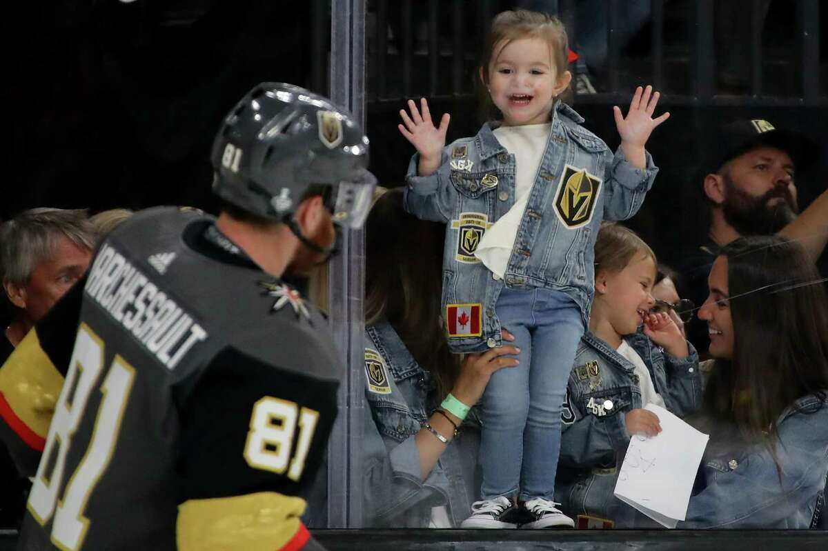 LAS VEGAS, NV - JUNE 07: A fan looks on as Jonathan Marchessault #81 of the Vegas Golden Knights skates in warm-ups prior to the game against the Washington Capitals in Game Five of the 2018 NHL Stanley Cup Final at T-Mobile Arena on June 7, 2018 in Las Vegas, Nevada. (Photo by Bruce Bennett/Getty Images)