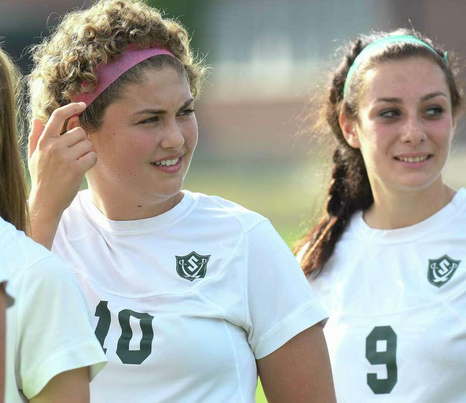 Schalmont's Davia Rossi (10) and teammate Sofia Cassano (9) during a Section II Class B girls' high school soccer game against Holy Names Academy in Rotterdam, N.Y., Thursday, Sept. 21, 2017. (Hans Pennink / Special to the Times Union) ORG XMIT: HP106 Photo: Hans Pennink / Hans Pennink