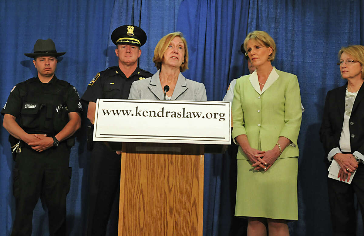 Patricia Webdale, of Fredonia, talks about making Kendra's Law permanent during a press conference in the LOB in Albany, NY on June 1, 2010. Webdale's daughter, Kendra, died when a mentally disturbed man pushed her in front of a subway. (Lori Van Buren / Times Union)