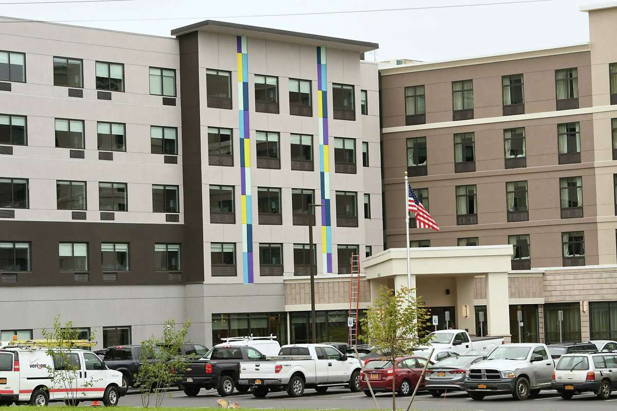 Exterior view from Western Ave. of new hotel located in front of Crossgates on Monday, Oct. 1, 2018 in Guilderland, N.Y. The dual-brand hotel will include a Homewood Suites by Hilton and a Tru by Hilton. (Lori Van Buren/Times Union)