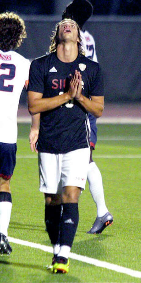 Jorge Gonzalez of SIUE looks skyward and folds his hands during the team's 2-0 victory over Belmont Saturday night at Korte Stadium. Gonzalez leads the 6-1-2 Cougars with six goals. SIUE will travel to Indianapolis Tuesday to face IUPUI. Photo: SIUE Athletics