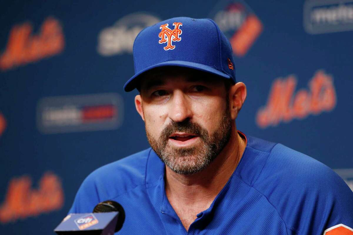 New York Mets' manager Mickey Callaway holds a news conference before a baseball game between the Mets and the Miami Marlins, Sunday, Sept. 30, 2018, in New York. (AP Photo/Jason DeCrow)