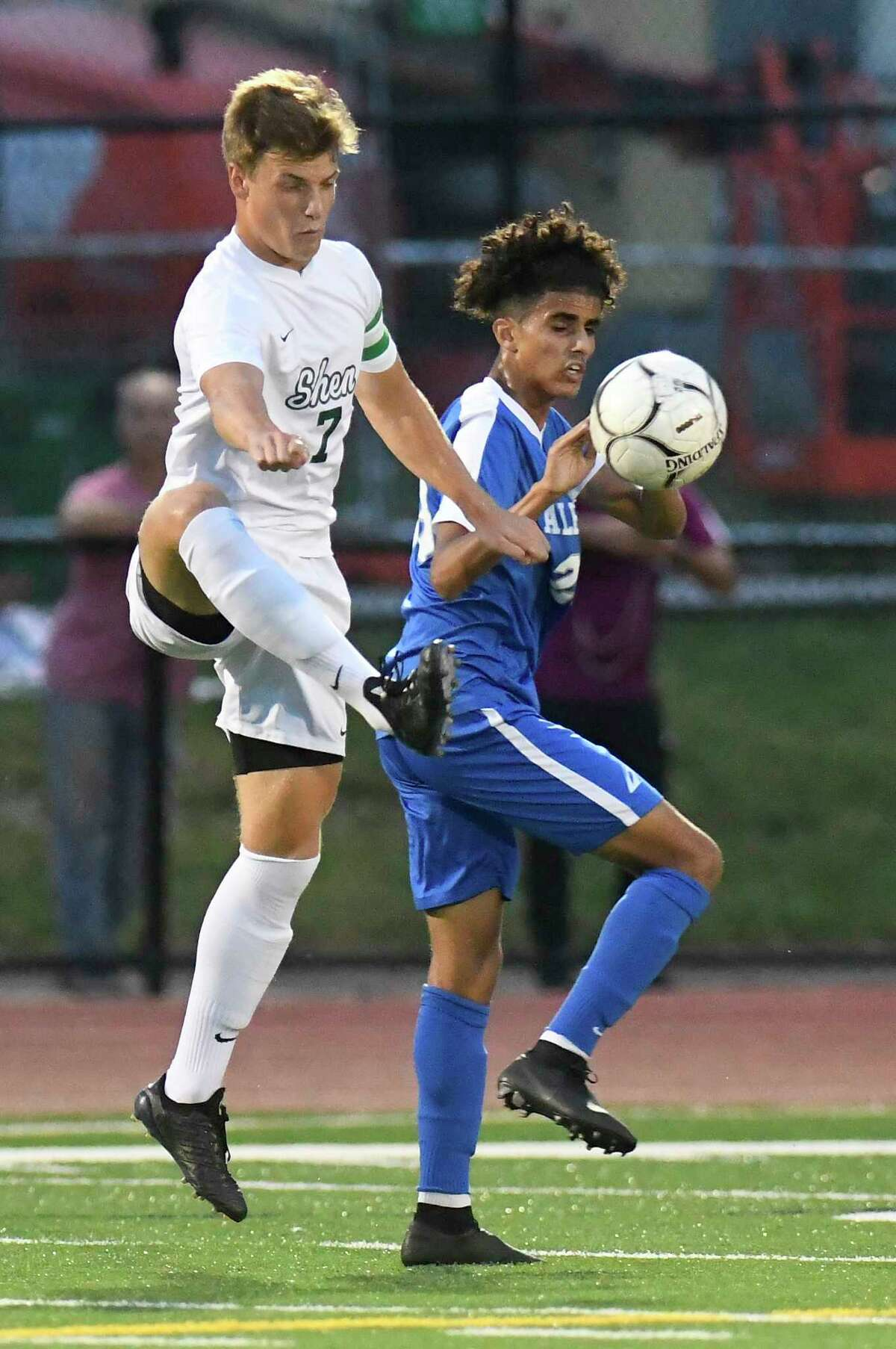 Shendehowa's Eric Makhatadze (7) and Mohammad Yehia (23) chase the ball during a Section II boys soccer game Monday, Sept. 17, 2018, in Albany, N.Y. (Hans Pennink / Special to the Times Union)