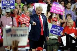 President Donald Trump arrives at a rally Monday, Oct. 1, 2018, in Johnson City, Tenn.