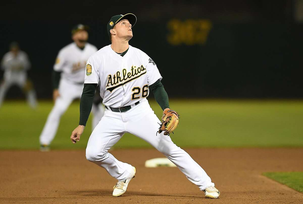 OAKLAND, CA - AUGUST 20: Matt Chapman #26 of the Oakland Athletics reacts to a fly ball against the Texas Rangers in the top of the fifth inning at Oakland Alameda Coliseum on August 20, 2018 in Oakland, California. ~~