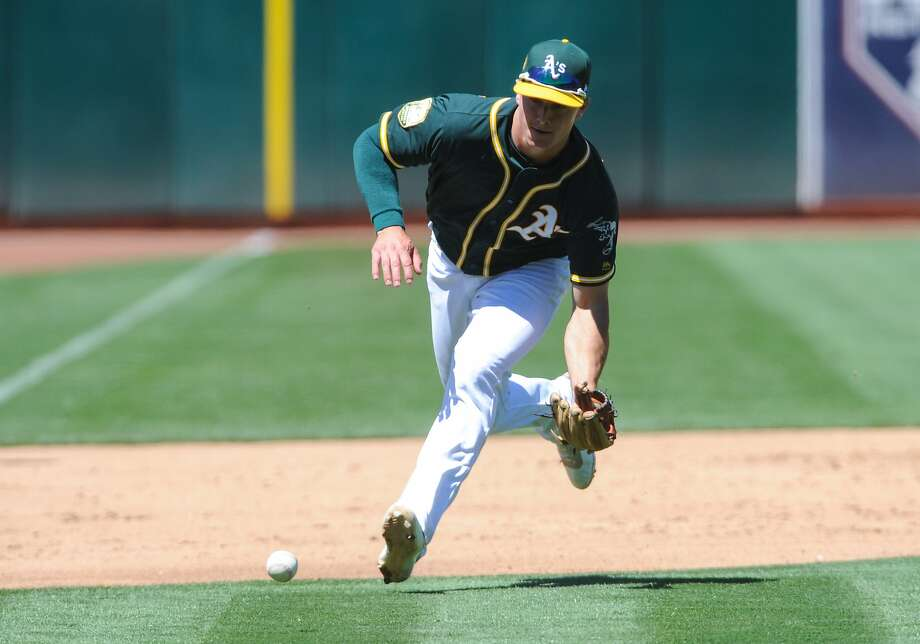 A ball is hit softly toward Oakland Athletics third baseman Matt Chapman (26) during the game against the Detroit Tigers on August 5, 2018 at Oakland-Alameda County Coliseum. Photo: Icon Sportswire / Icon Sportswire Via Getty Images