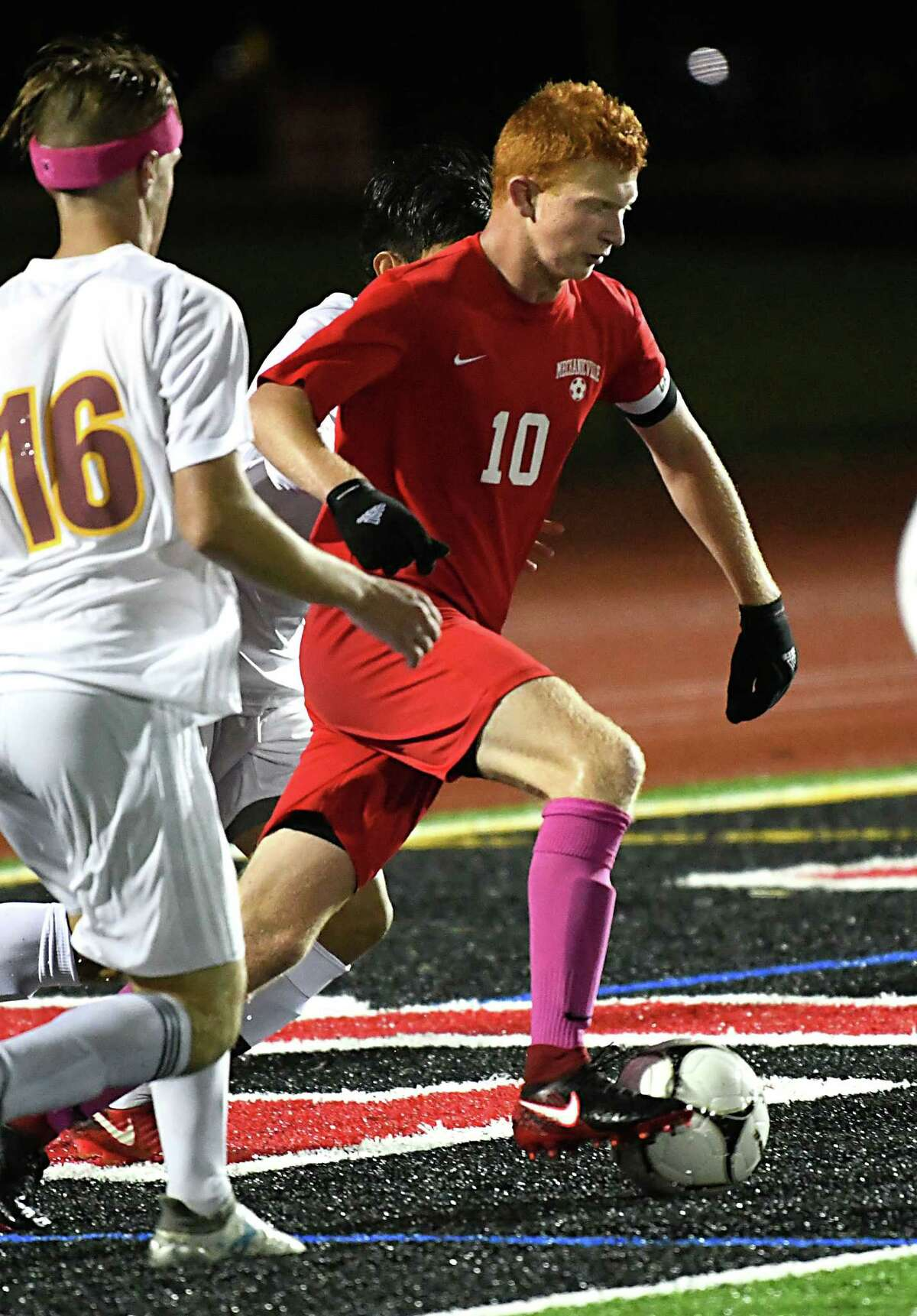 Mechanicville's Chris Ciccarelli (#10) handles the ball during a soccer game against Colonie on Monday, Oct. 1, 2018 in Mechanicville, N.Y. (Lori Van Buren/Times Union)